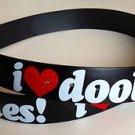 "I Love Doobies Black Leather Belt Mens/Womens Roller Buckle Sz Small 30""-32"""