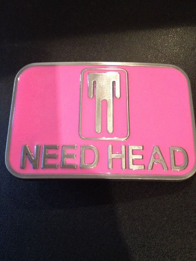 Need Head Funny Adult Belt Buckle Black Over-the-Top