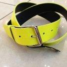 "Neon Yellow Leather Belt Mens/Womens Sz Large 38""-40"""