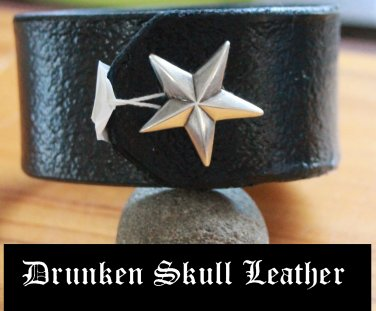 Leather Cuff with Nautical Star and tooled background