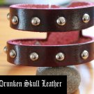 "red leather ""double"" cuff bracelet with silver domed rivets"