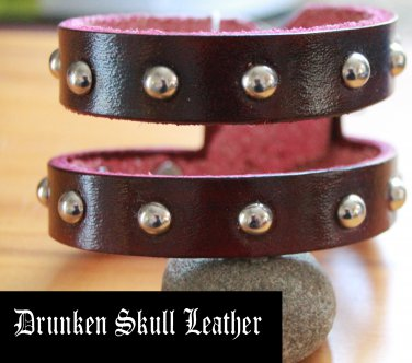 """red leather """"double"""" cuff bracelet with silver domed rivets"""