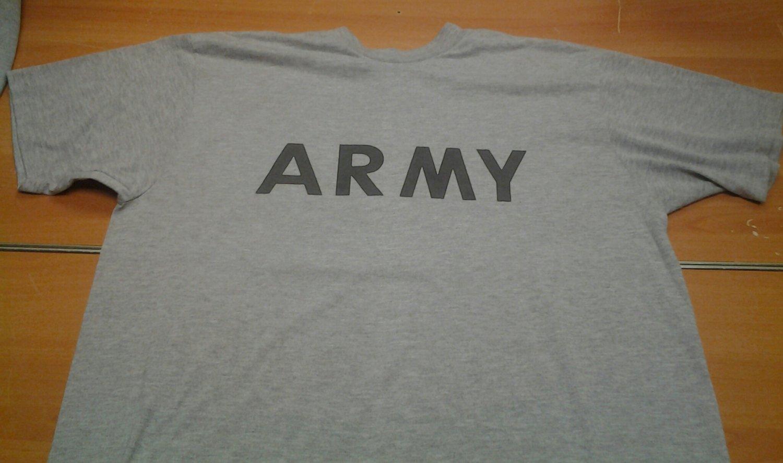 Authentic ARMY gray grey PT uniform tee shirt mens XL