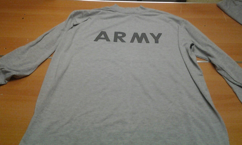 Authentic ARMY gray grey PT uniform long sleeve tee shirt mens Large