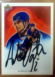 HOF'er ADAM OATES autographed signed 91-92 Upper Deck card Capitals Bruins Blues