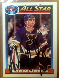HOF'er ADAM OATES autographed signed 1991 Topps card Capitals Bruins Blues