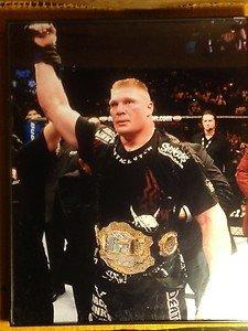 BROCK LESNAR wins the Heavyweight belt at UFC 91 framed 8x10 photo WWE