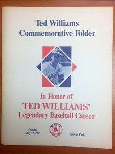 1991 Fenway Park Ted Williams Commemorative Folder Boston Red Sox