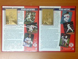 Nomar Garciaparra & Pedro Martinez Official 22kt Gold Cards Danbury Mint Red Sox