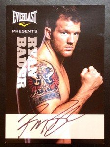 UFC MMA RYAN BADER autographed signed 5x7 Everlast promo card photo