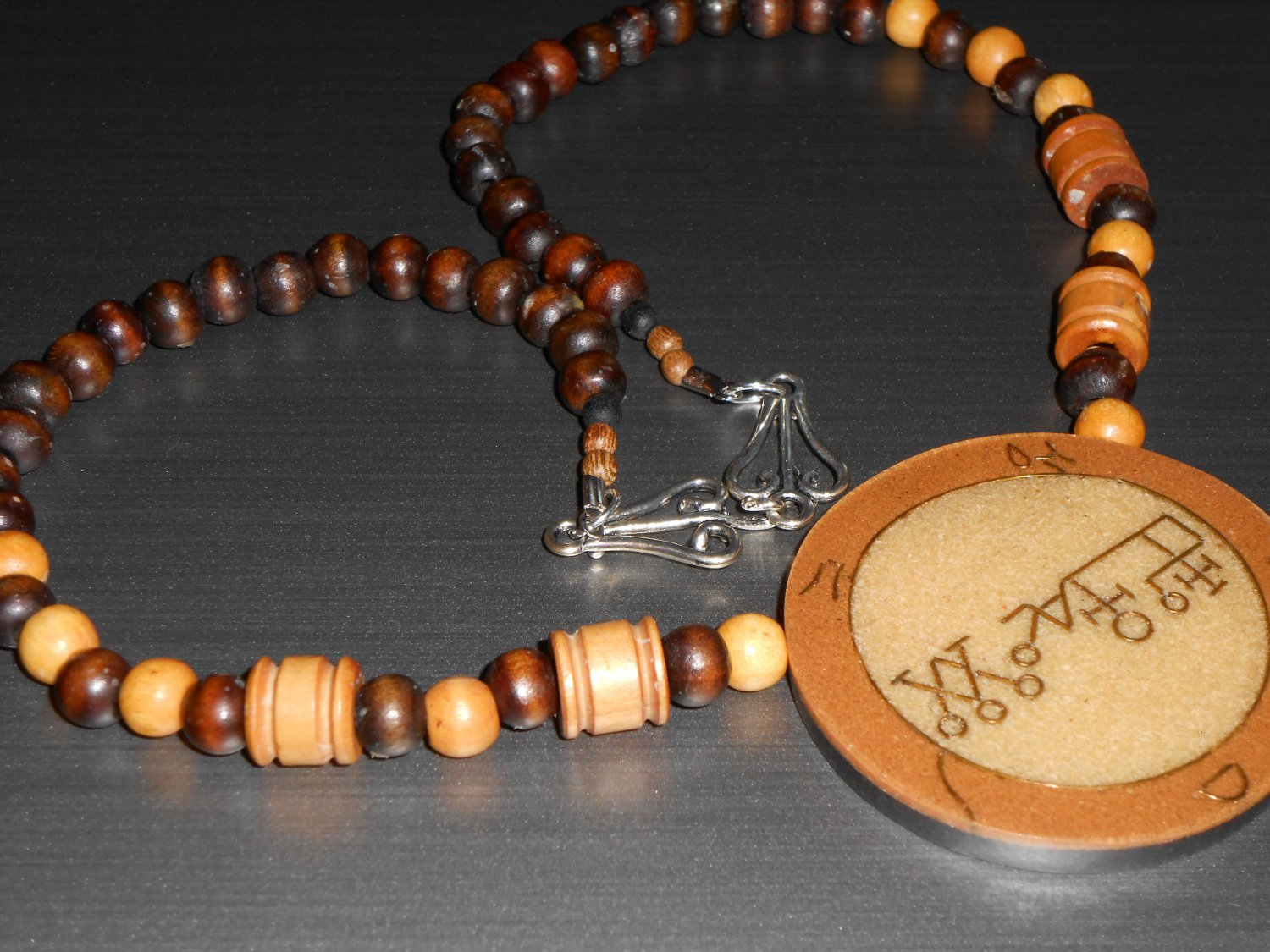 Asian Inspired Stone and Wood Bead Necklace