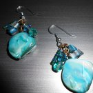 Teal Mother of Pearl Stone Earrings
