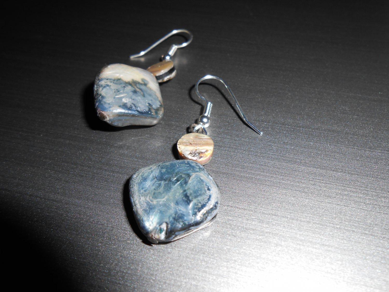 Black Mother of Pearl Stone Drop Earrings
