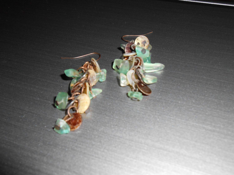 Teal and Copper Bohemian Drop Earrings