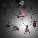 Football Wine Glass charms