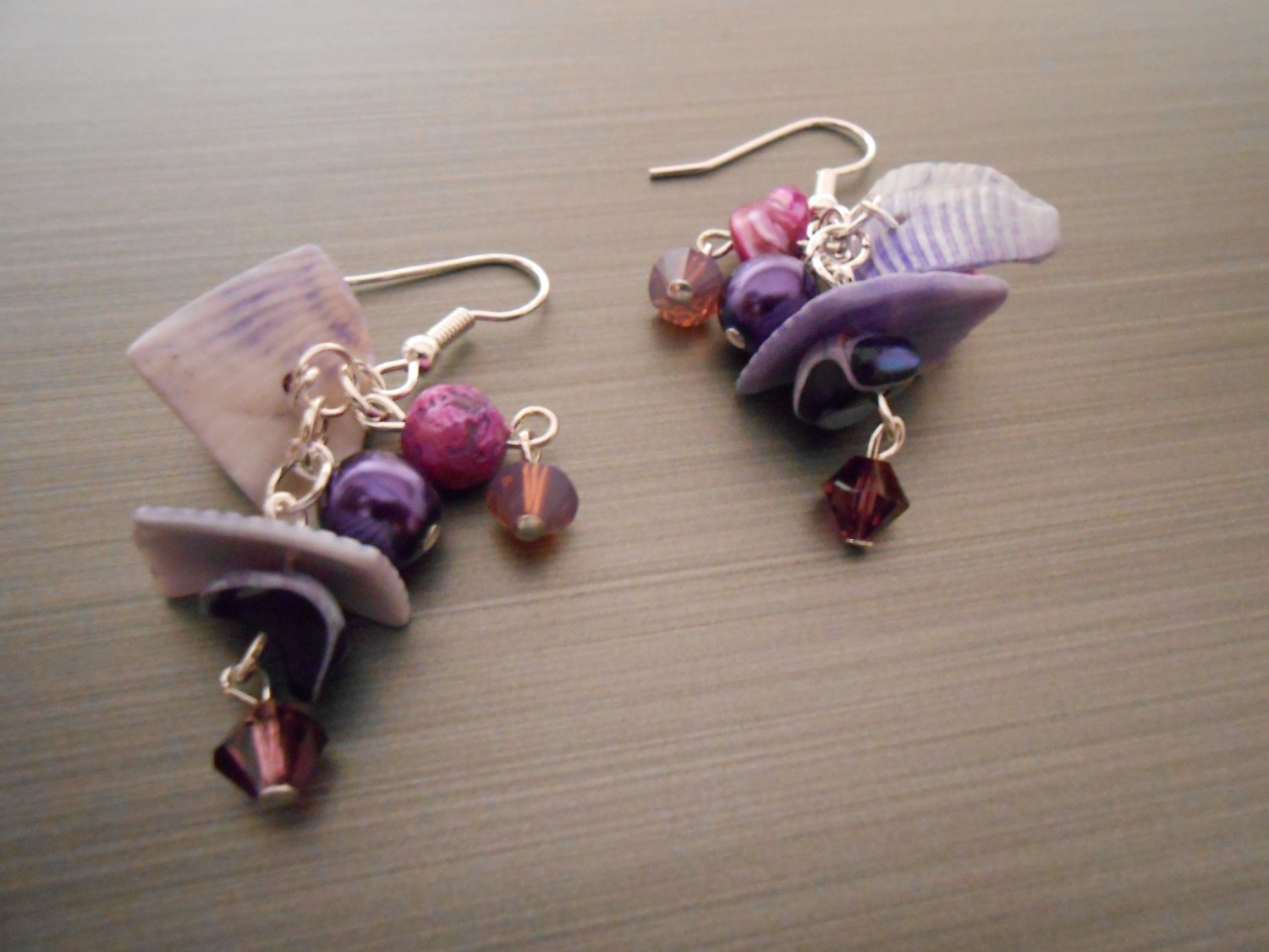 Bohemian Purple Bead and Shell Earrings
