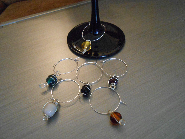 Polished Stone Wine Glass Charms