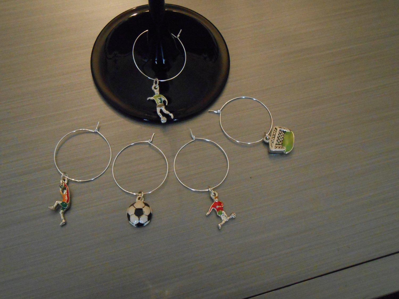 Soccer Wine Glass Charm Set