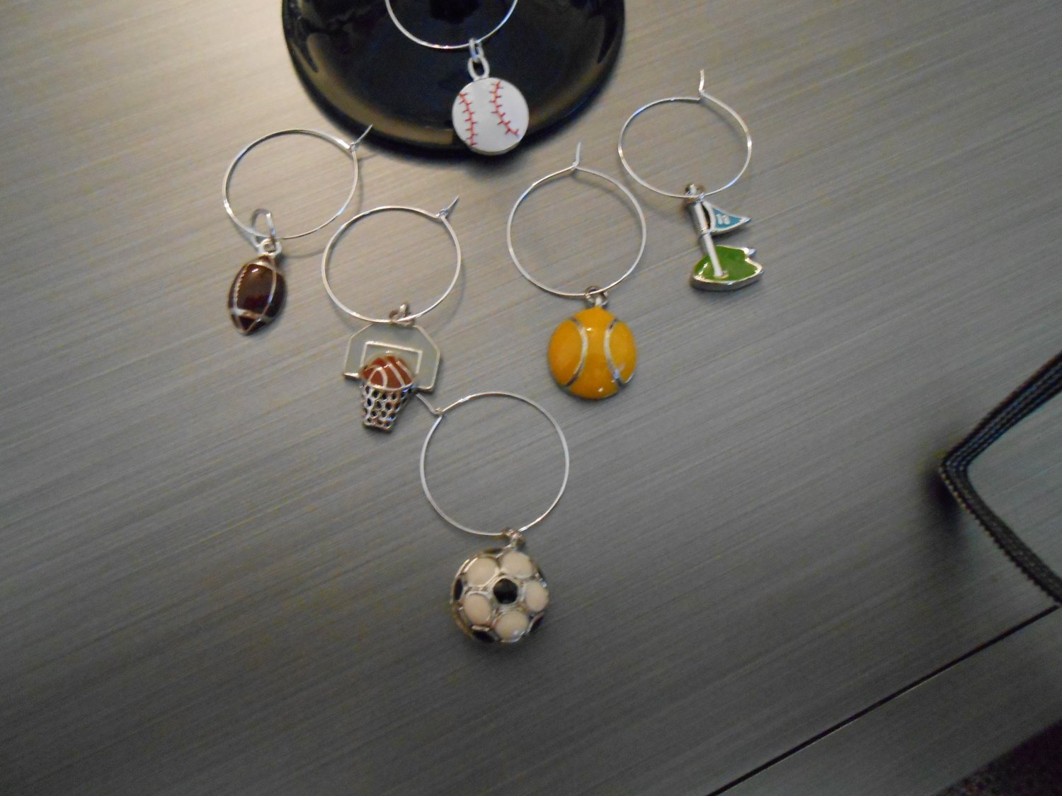 Various Sports Wine Glass Charm Set
