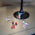 Support Ribbon Wine Glass Charm Set