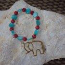 Elephant charm red/green bracelet