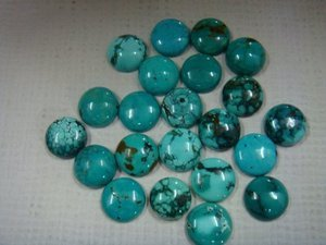 Certified  RARE NATURAL TOP QUALITY TURQUOISE GEMSTONE ROUND CABOCHON 25 PCS LOT!