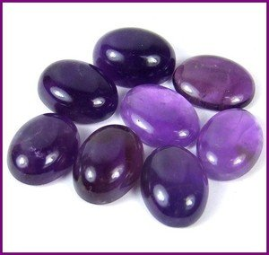 Certified  Lot of 15 Pieces AAA Quality Amethyst 6x8 m.m. Oval Cabochon Calibarated