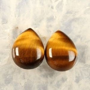 Certified Lot of 25 Pieces AAA Quality Tiger Eye 10x14 m.m. Pear Cabochon