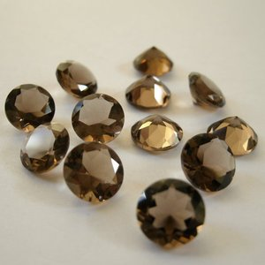 Certified Lot of 25 Pieces AAA Quality Smoky Quartz 7x7 m.m. Round Cut Stone