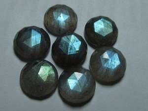 Certified Lot of 15 Pieces AAA Quality Labradorite 15x15 mm Round Rose Cut Gemstones