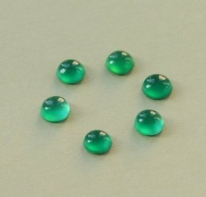 Certified Lot of 25 Pieces AAA Quality Green Onyx 3x3 m.m. Round Cabochon Calibarated