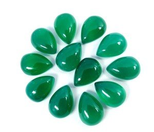 Certified Lot of 25 Pieces AAA Quality Green Onyx 5x7 M.M. Pear Cabochon Calibarated