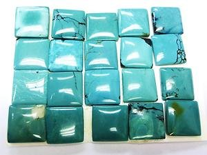 Certified Lot of 25 Pieces AAA Quality Turquoise 4x4 M.M. Square Cabochon Calibarated