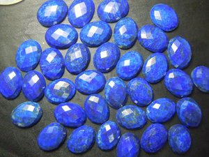 Certified Lot of 25 Pieces AAA Quality Lapis Lazuli 6x8 M.M. Oval Checker Cut