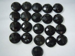 Certified Lot of 25 Pieces AAA Quality Black Onyx 15x15 m.m. Round Checker cut
