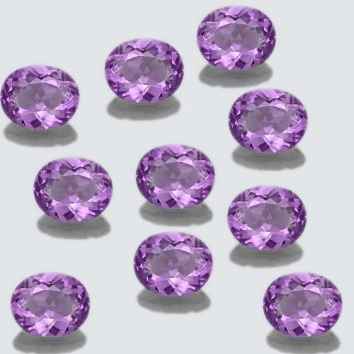 Certified Natural Amethyst AA Quality 6x8 mm faceted Oval 10 pcs