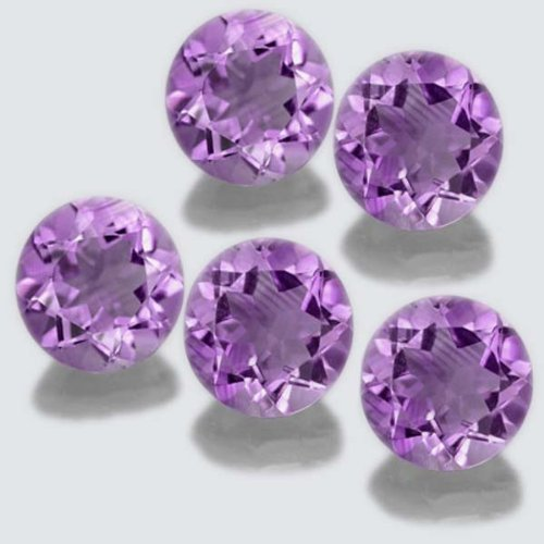Certified Natural Amethyst AA Quality 9 mm faceted Round 5 pcs lot