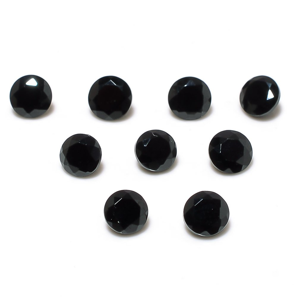 Certified Natural Black Spinel AAA Quality 5 mm Faceted Round 10 pcs lot