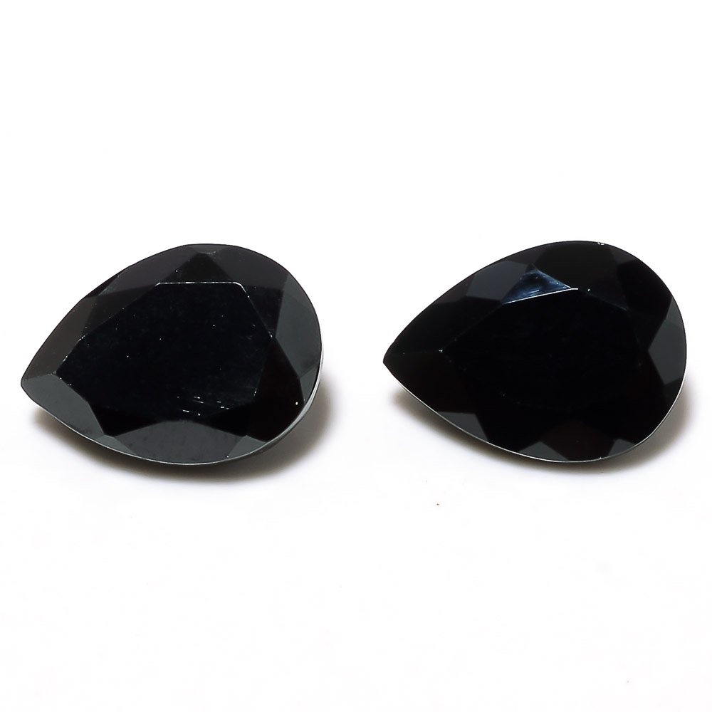 Certified Natural Black Spinel AAA Quality 12x8 mm Faceted Pear 2 pcs Pair