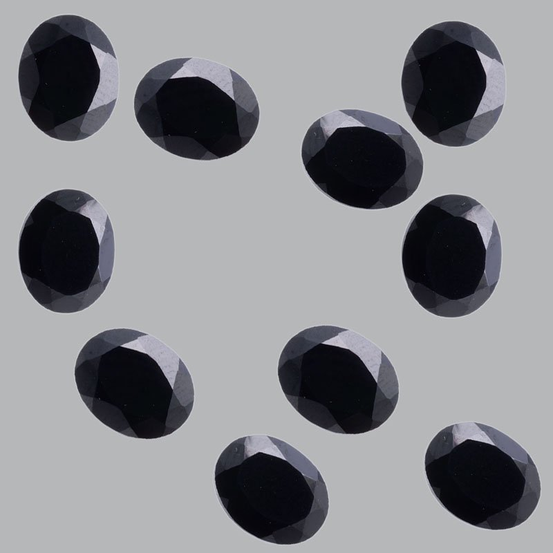 Certified Natural Black Spinel AAA Quality 10x8 mm Faceted Oval  25 pcs lot