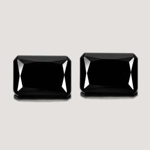 Certified Natural Black Spinel AAA Quality 10x14 mm Faceted Octagon  2 pcs pair