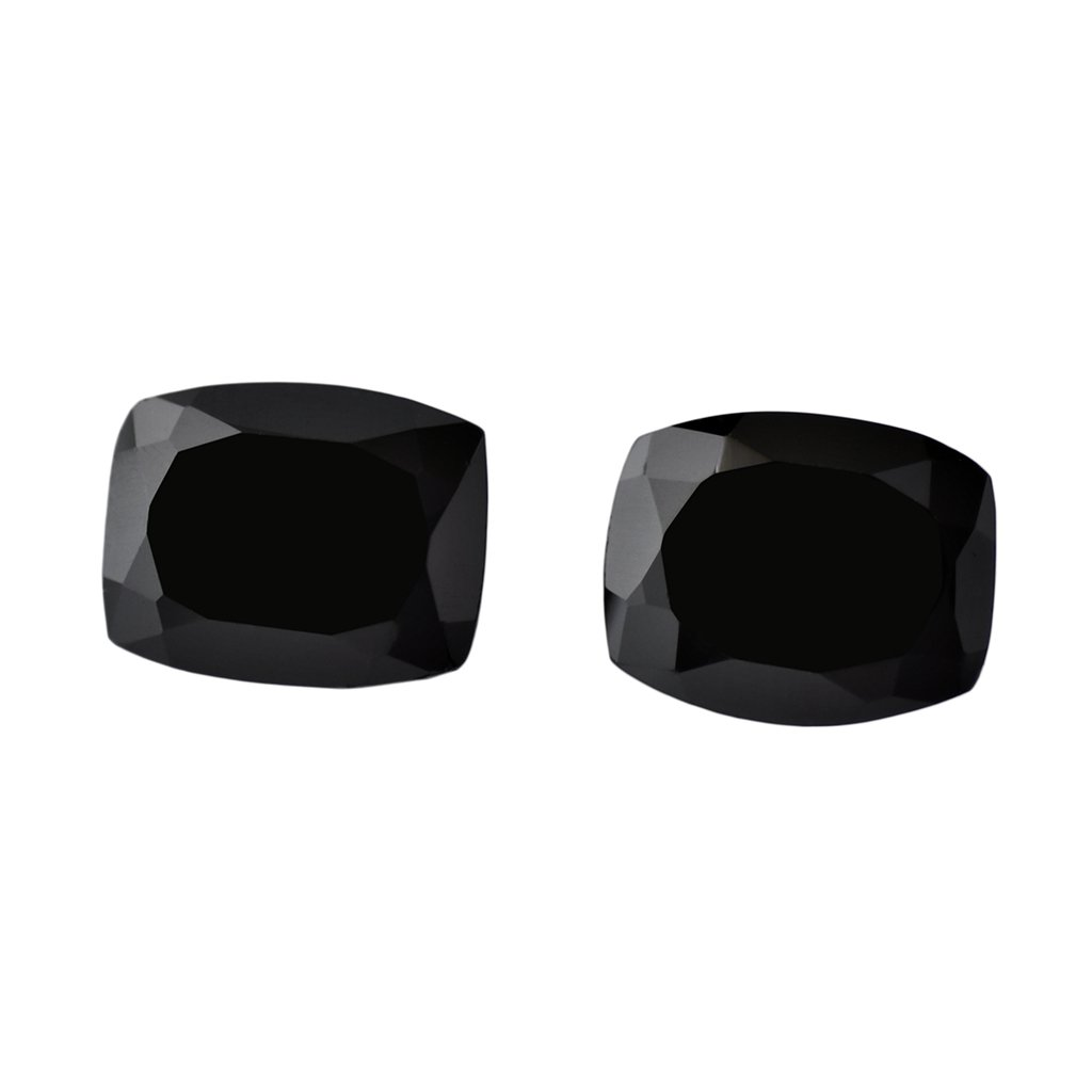 Certified Natural Black Spinel AAA Quality 8 mm Faceted Cushion  2 pcs pair