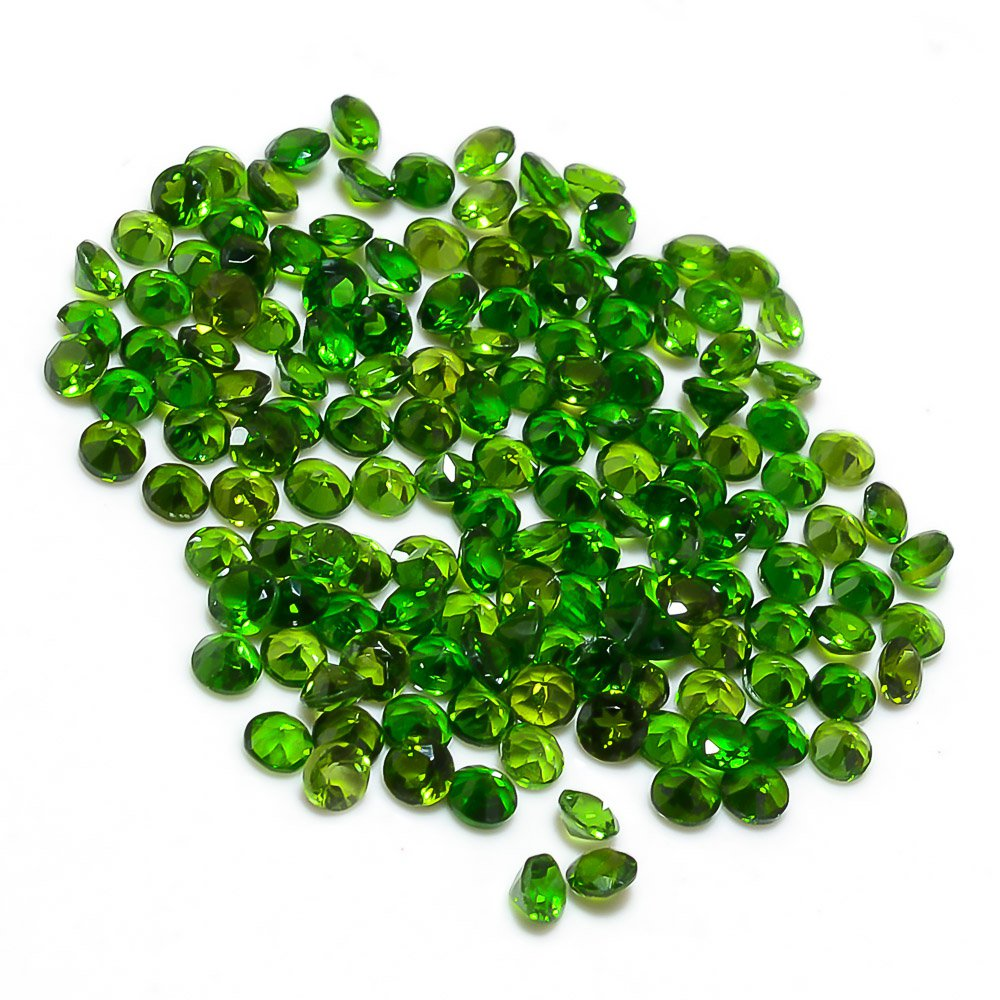 Certified Natural Chrome diopside AAA Quality 2 mm faceted Round 25 pcs lot