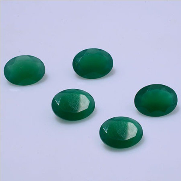 Certified Natural Green Onyx AAA Quality 8x10 mm Faceted Oval 5 pcs lot