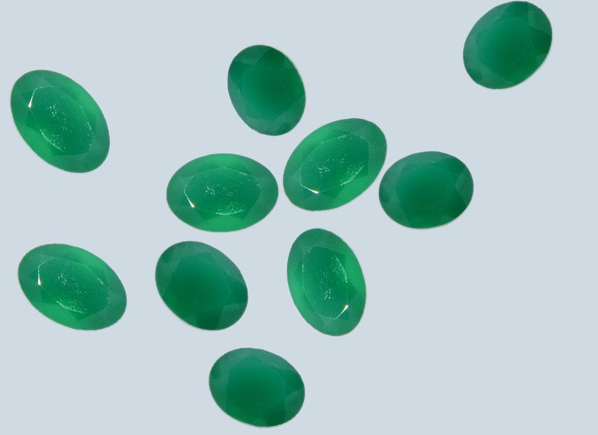 Certified Natural Green Onyx AAA Quality 16x12 mm Faceted Oval 10 pcs lot