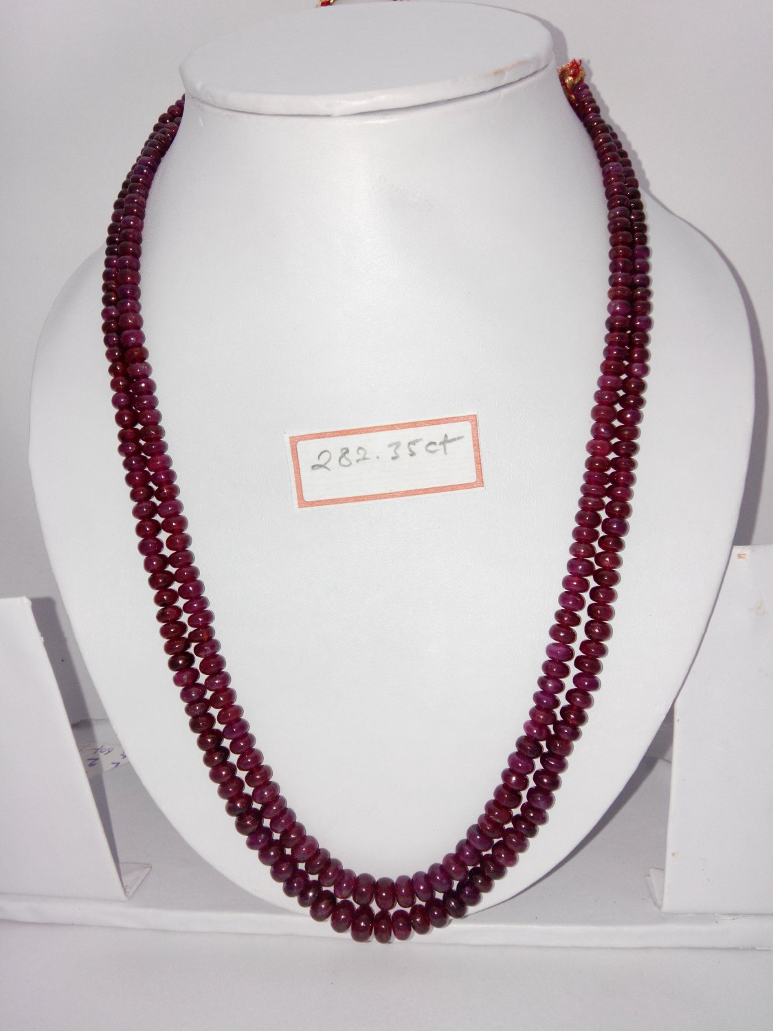 Certified Fissure Filled Ruby necklace of 282.35 cts Fancy Round Beads plane Polish