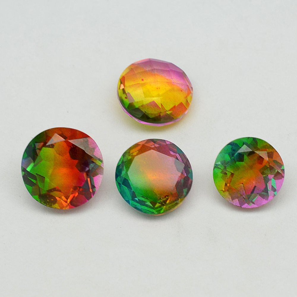 Certified Quartz  Doublets try-Color AAA Quality 18 mm Faceted Round 10 pcs Lot