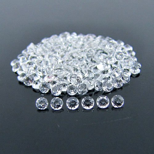 Certified Natural White topaz AAA Quality 6 mm Faceted Round 2 pcs Pair