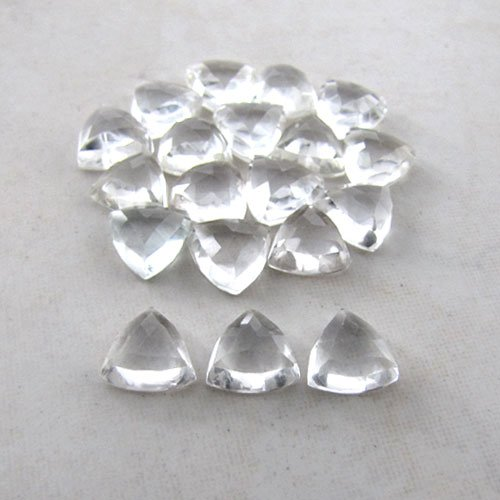 Certified Natural White topaz AAA Quality 4 mm Faceted Trillion 5 pcs Lot