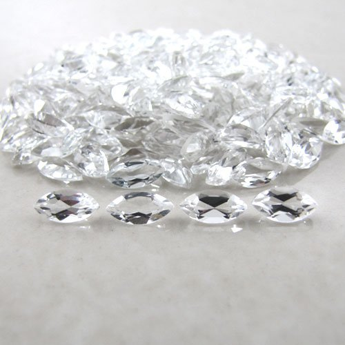 Certified Natural White topaz AAA Quality 4x2 mm Faceted Marquise 50 pcs Lot